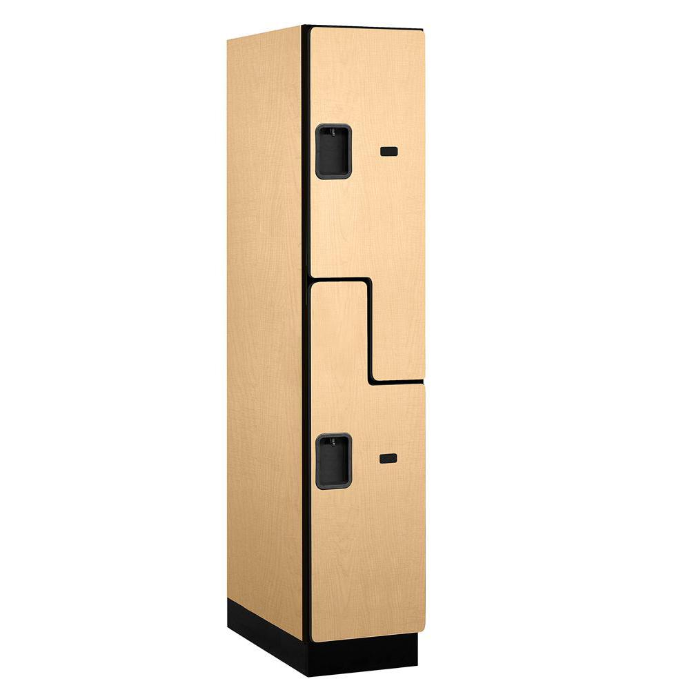 "Salsbury Industries 27000 Series Double-Tier ""S"" Style 24 in. D 2-Compartments Extra Wide Designer Particle Board Locker in Maple"