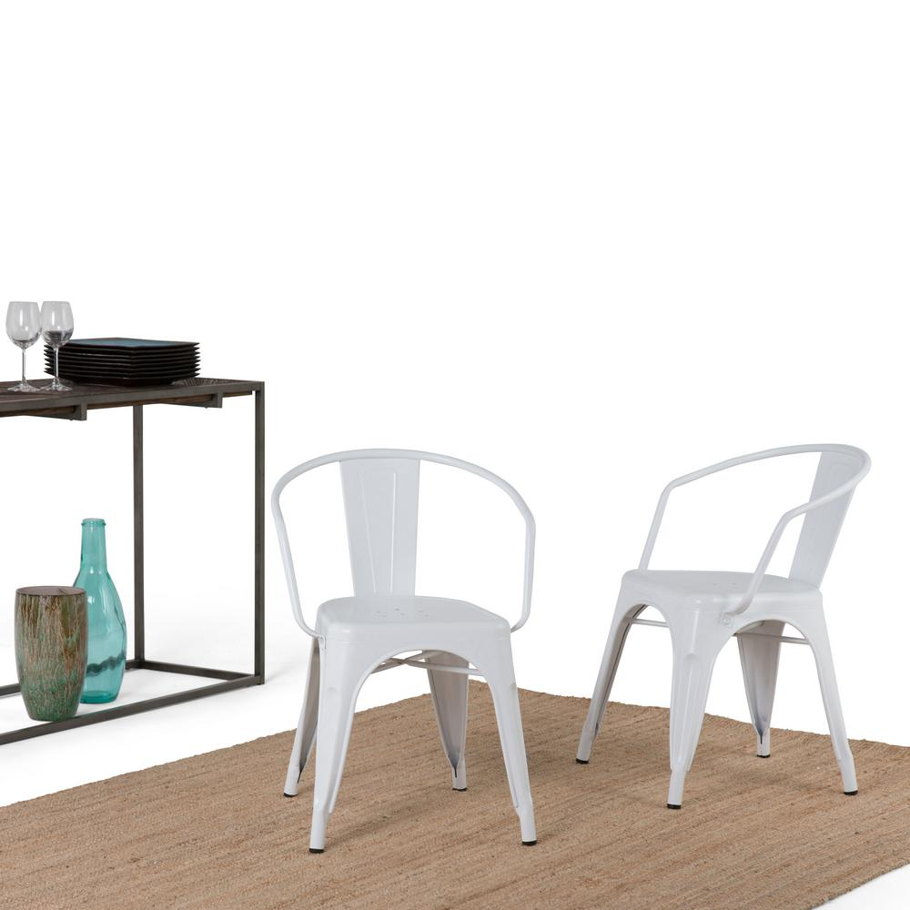 Larkin White Metal Dining Arm Chair (Set of 2)
