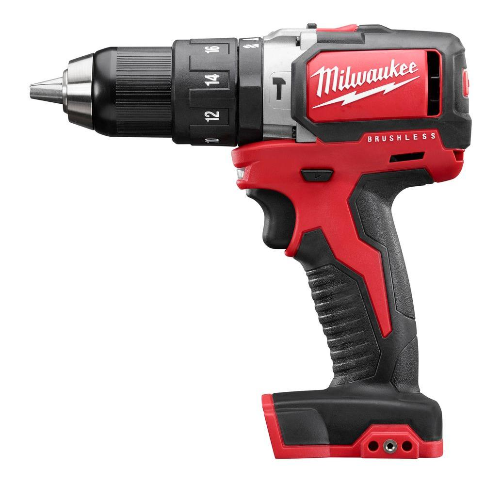 Milwaukee M18 18-Volt Lithium-Ion Brushless Cordless 1/2 in. Compact Hammer Drill (Tool-Only)
