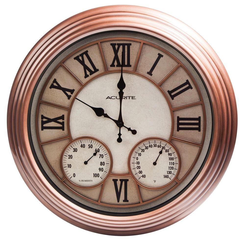 18 in. Copper Metal Outdoor Clock with Thermometer and Humidity