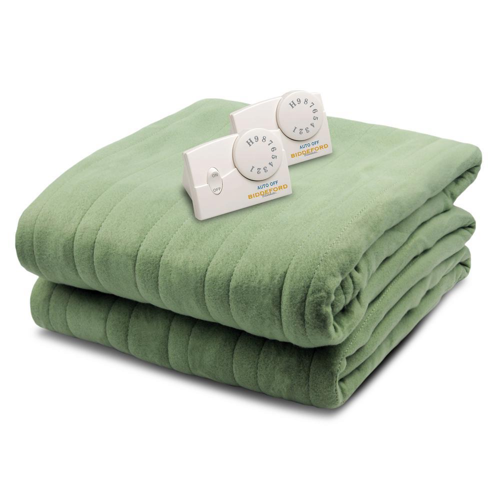 1003 Series Comfort Knit Heated 84 in. x 90 in. Sage Queen Size Blanket