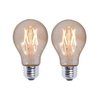 40W Equivalent Amber Light A19 Dimmable LED Filament Light Bulb (2-Pack)