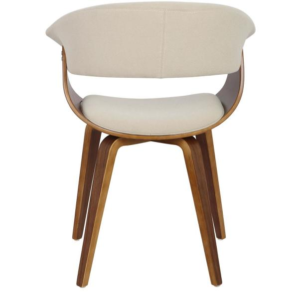 Lumisource - Vintage Mod Walnut and Cream Dining/Accent Chair