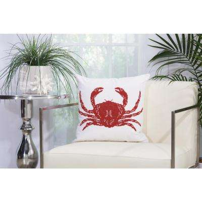 Beaded Crab 18 in. x 18 in. Red and White Indoor and Outdoor Pillow