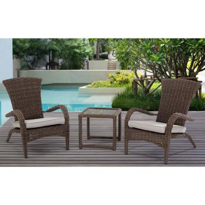 3-piece Wicker Square Outdoor Bistro Set with Beige Cushions