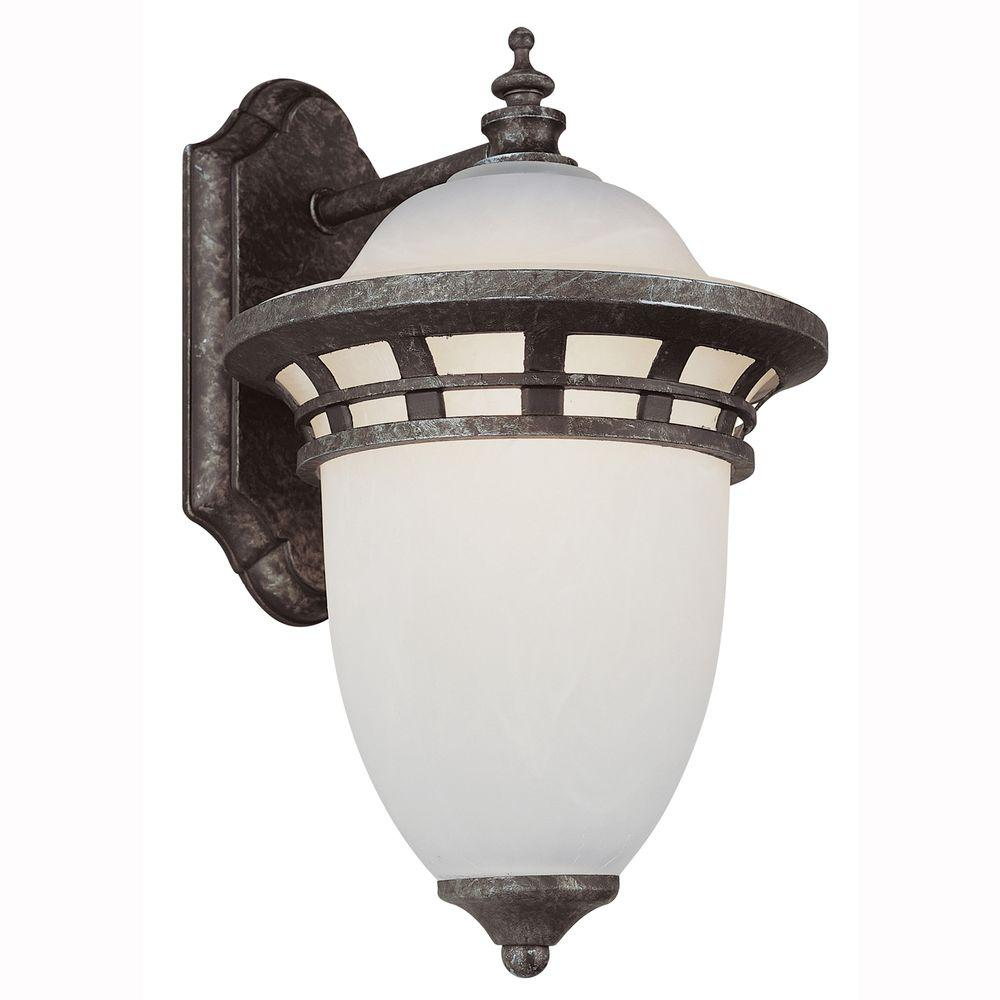 Energy Saving 1-Light Outdoor Antique Pewter Coach Lantern with Frosted Glass
