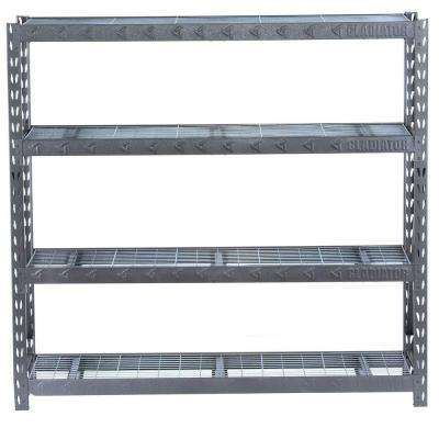73 in. H x 77 in. W x 24 in. D 4-Shelf Welded Steel Garage Shelving Unit