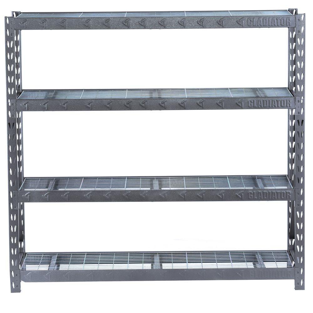73 in. H x 77 in. W x 24 in. D 4-Shelf Welded Steel Garage Shelving Unit