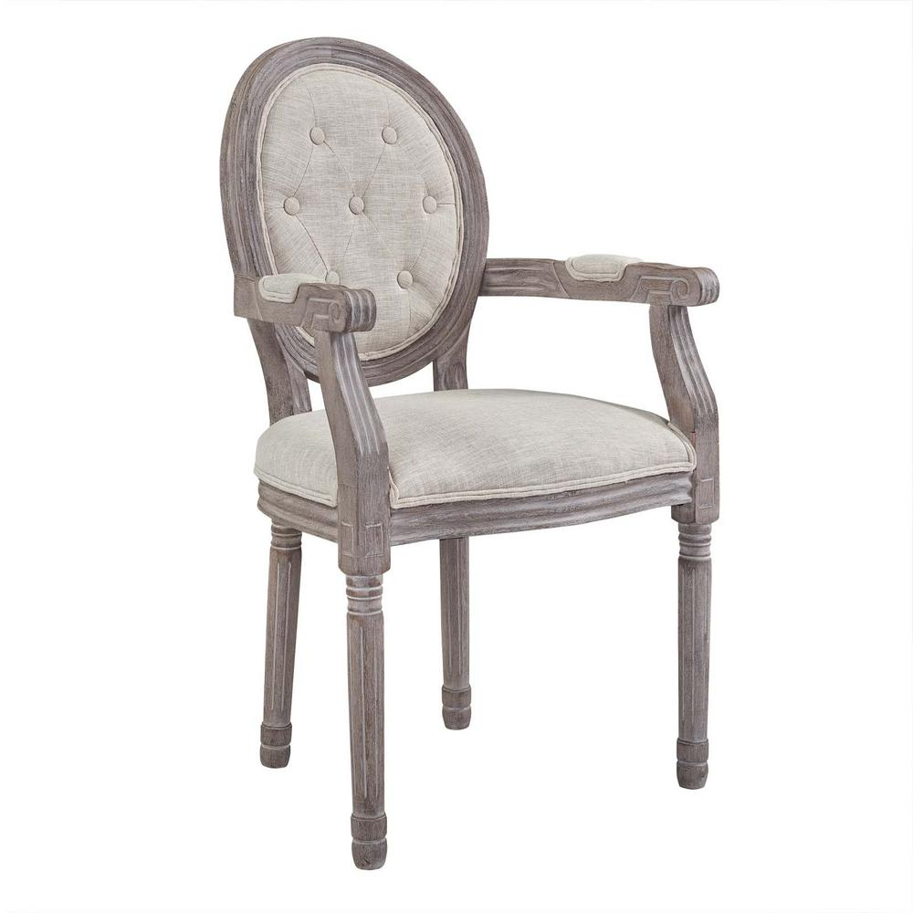 Arise Vintage Beige French Upholstered Fabric Dining Armchair