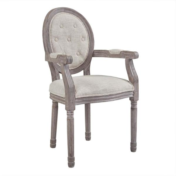 MODWAY Arise Vintage Beige French Upholstered Fabric Dining Armchair EEI-2796-BEI