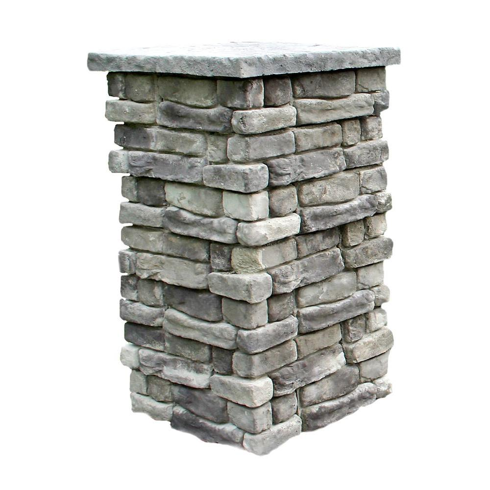 Exterior Faux Stone Columns : Random stone gray in outdoor decorative column rscg
