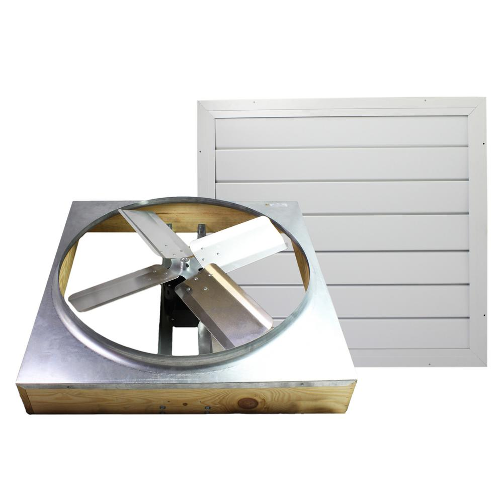 Cool Attic 11 In X 28 5 In 2985 Cfm White Galvanized Steel Automatic Shutter Whole House Fan Cx242ddwt The Home Depot