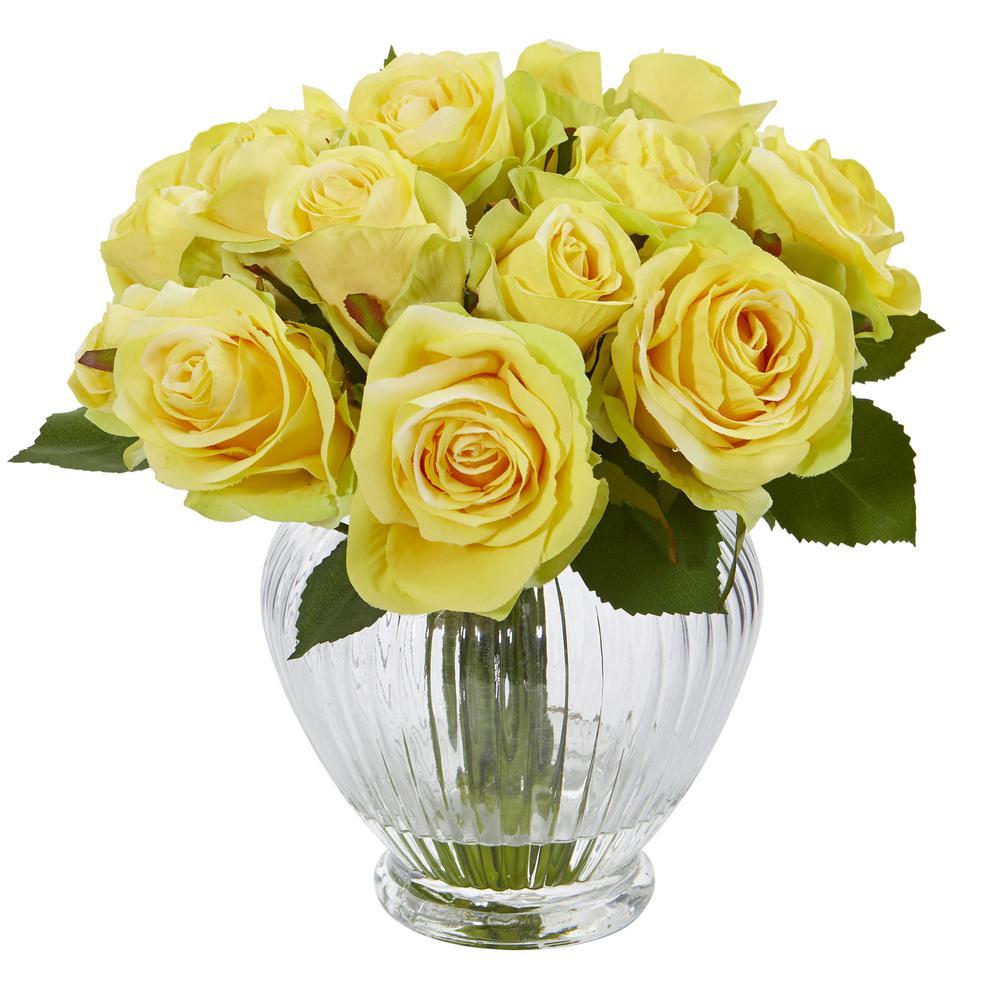 9 in. High Yellow Roses Artificial Floral Arrangement in Elegant Glass Vase