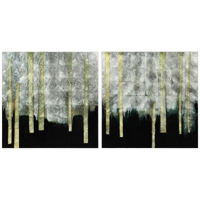 Gilt Tree with Silver Leaf Reverse Print Tempered Glass Diptych Unframed Abstract Wall Art 38 in. x 38 in. Each Piece