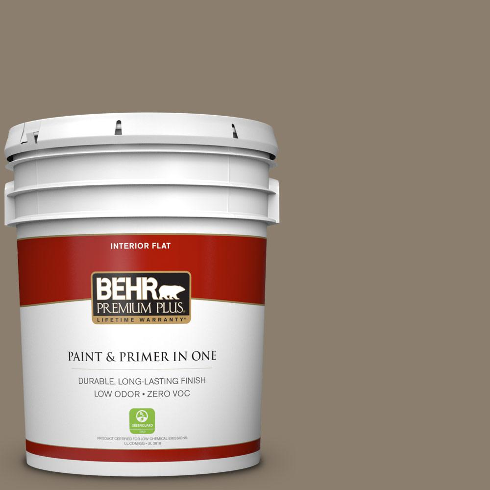5 gal. #BNC-36 Restful Brown Zero VOC Flat Interior Paint