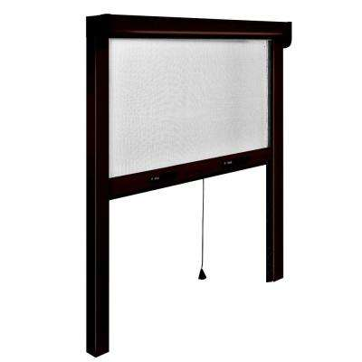 73 in. x 67 in. Adjustable Width/Height Bronze Aluminum Vertically Retractable Insect Screen/Frame Kit, Anti-Mold Mesh
