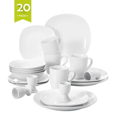 ELISA 20-Piece White Porcelain Dinnerware Set Plates and Bowls Set Mugs and Egg Cups (Service for 4)