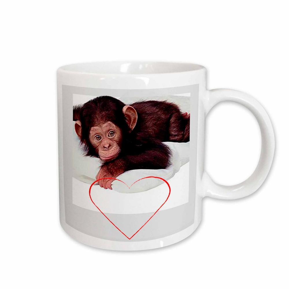 Valentine's Day 11 oz. White Ceramic Valentines Monkey