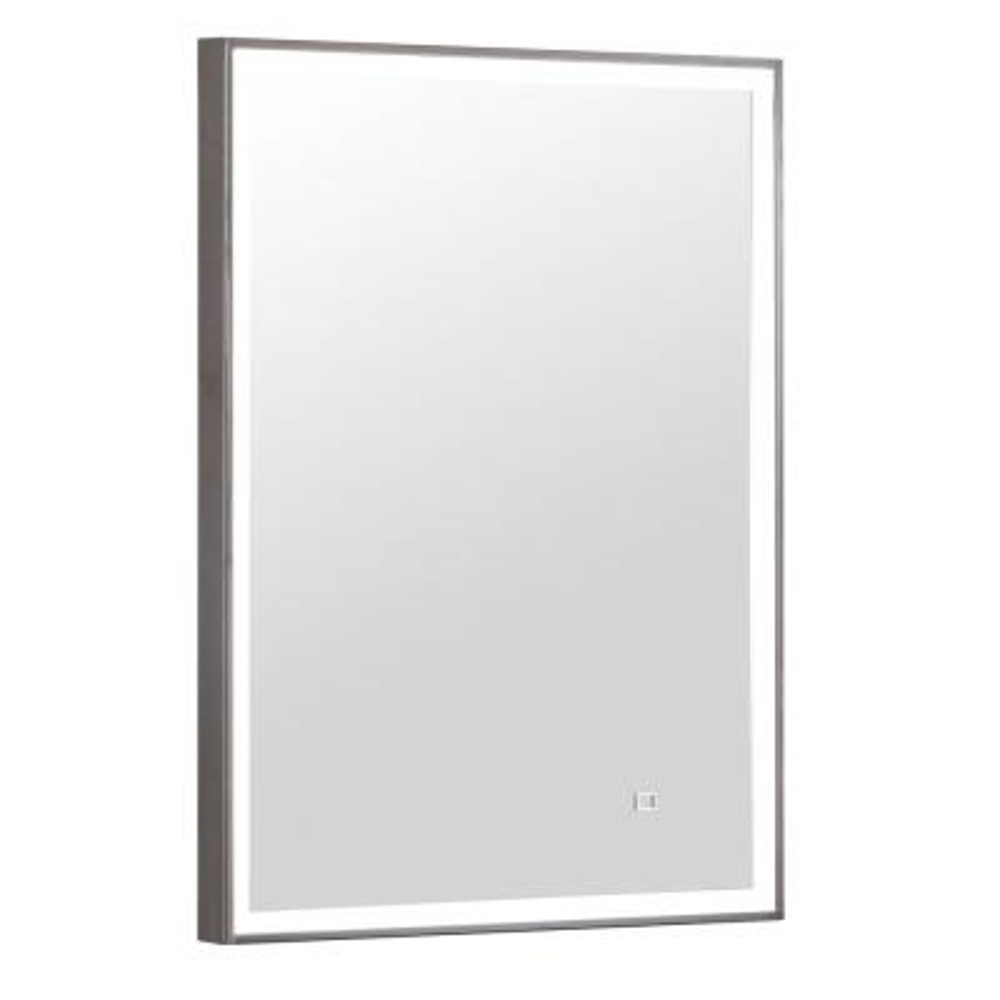 20 in. W x 28 in. H Framed Rectangular LED Light Bathroom Vanity Mirror in Gray