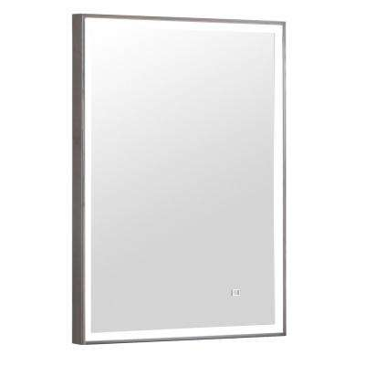 22 in. x 30 in. LED Wall Mirror in Stainless Steel Frame