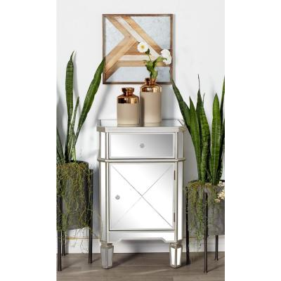 Silver Wood and Mirror Side Cabinet