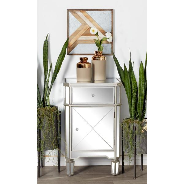 Litton Lane Silver Wood and Mirror Side Cabinet