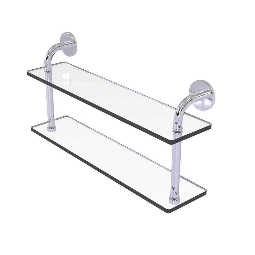 Remi Collection 22 in. 2-Tiered Glass Shelf in Polished Chrome