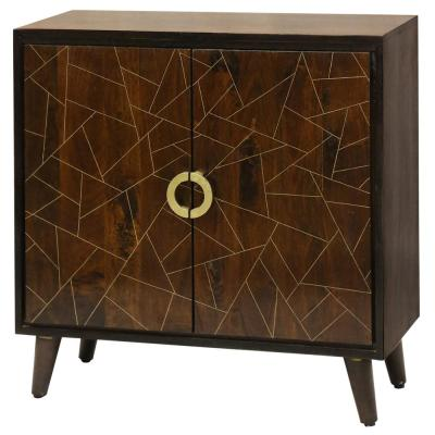 Abstract Rich Brown Stain Geometric Brass Pattern 2-Door Cabinet