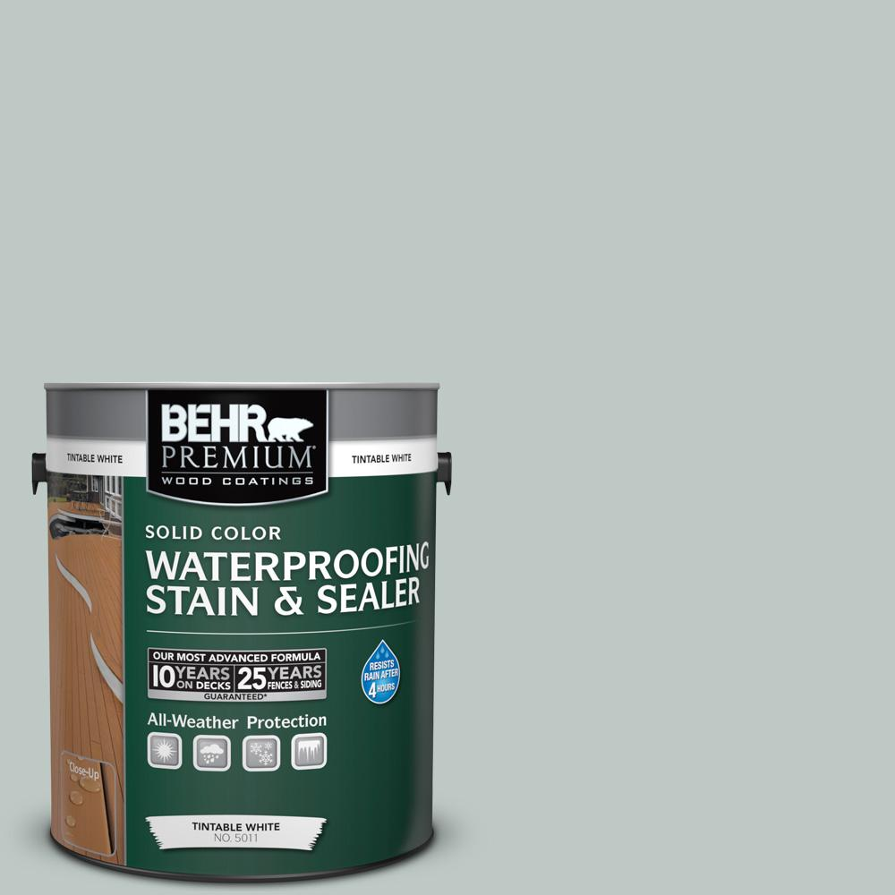 BEHR Premium 1 gal. #SC-365 Cape Cod Gray Solid Color Waterproofing Stain and Sealer