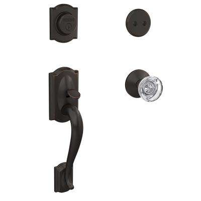 Camelot Aged Bronze Inactive Handleset with Hobson Glass Knob and Kinsler Trim