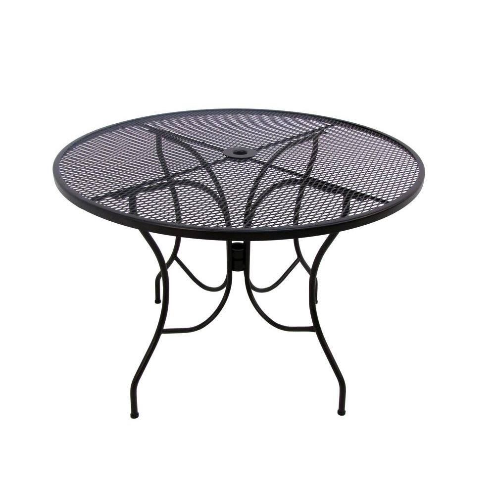 Arlington House Glenbrook 48 In Black Round Patio Dining Table 8349000 0105000 The Home Depot