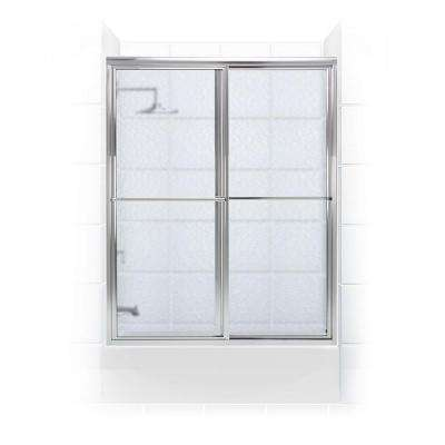 Newport Series 56 in. x 55 in. Framed Sliding Tub Door with Towel Bar in Chrome with Aquatex Glass