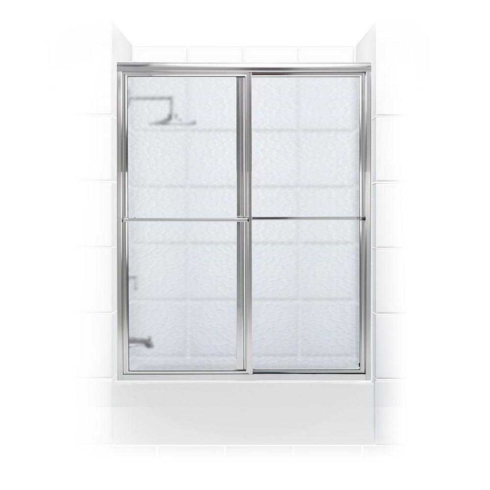 Coastal Shower Doors Newport Series 60 in. x 58 in. Framed Sliding Tub Door with Towel Bar in Chrome with Aquatex Glass