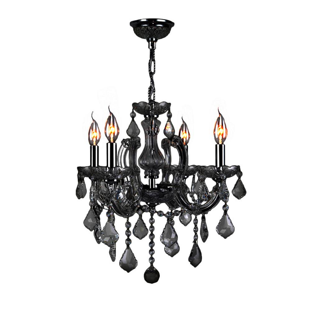 Catherine Collection 4 Light Polished Chrome and Black Crystal Medium Chandelier