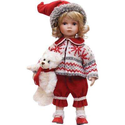 14.5 in. Alpine Chic Porcelain Morgan with Teddy Bear Standing Collectible Christmas Doll