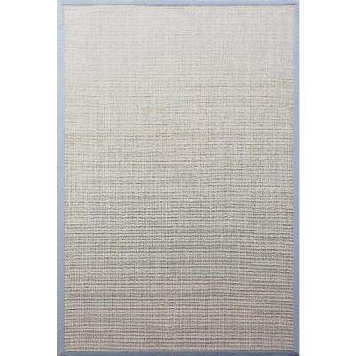 A1hc Sisal Tiger Eye Beige Sky Blue Border 5 Ft X 8