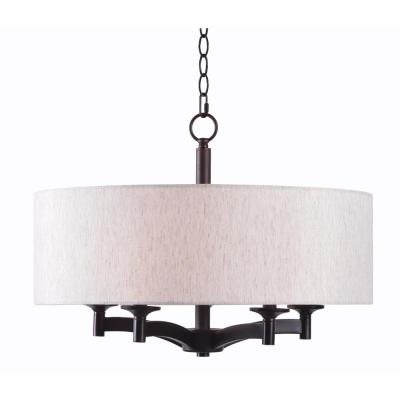 Rutherford 5-Light Bronze Pendant with Taupe Shade
