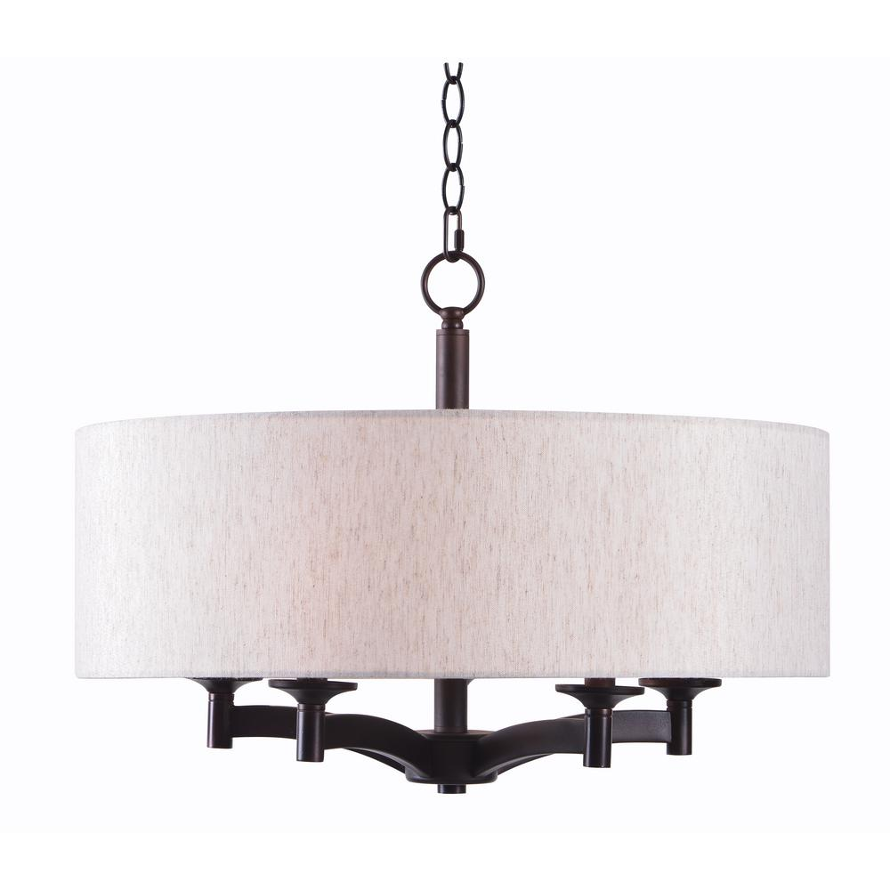 kenroy home rutherford 5 light bronze pendant with taupe shade