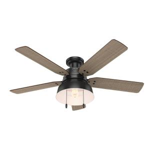 Hunter Mill Valley 52 inch LED Indoor/Outdoor Low Profile Matte Black Ceiling Fan with light by Hunter