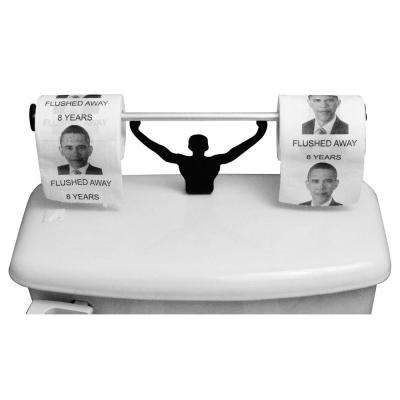 Barack Obama 8 Years Flushed Away Toilet Paper in Multi-Color with Strong Man Holder Political Gift Set