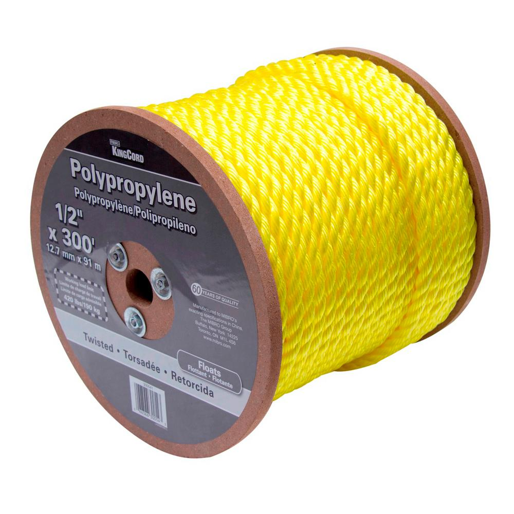 1/2 in. x 300 ft. Twisted Polypropylene Reeled Rope in Yellow