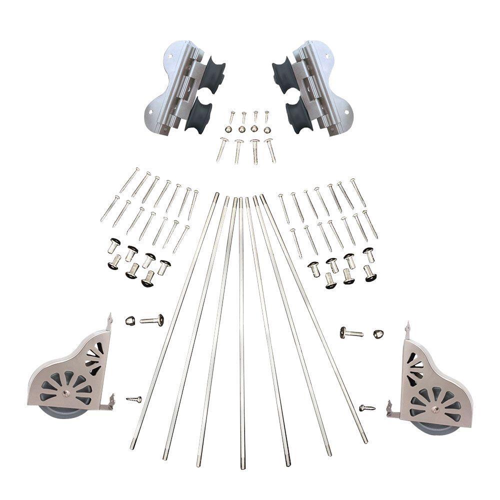 Satin Nickel Swivel Rolling Ladder Hardware Kit for 16 in. W Ladders