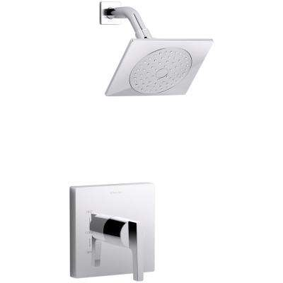 Honesty 1-Spray 6.5 in. 2.0 GPM Fixed Shower Head with Lever Handle in Polished Chrome