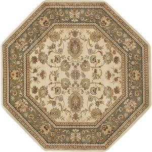 Tayse Rugs Sensation Beige 8 Ft Octagon Traditional Area Rug 4722 Ivory The Home Depot