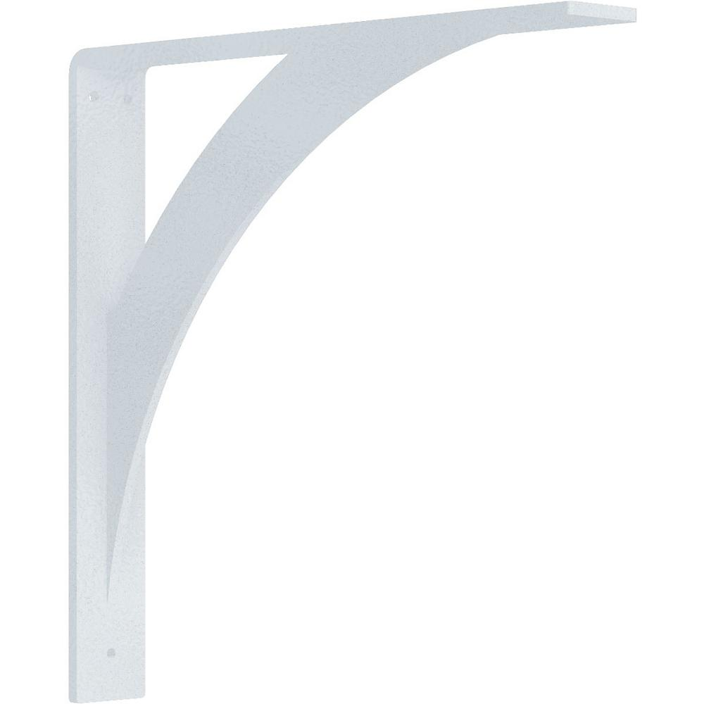 2 in. x 14 in. x 14 in. Steel Hammered White