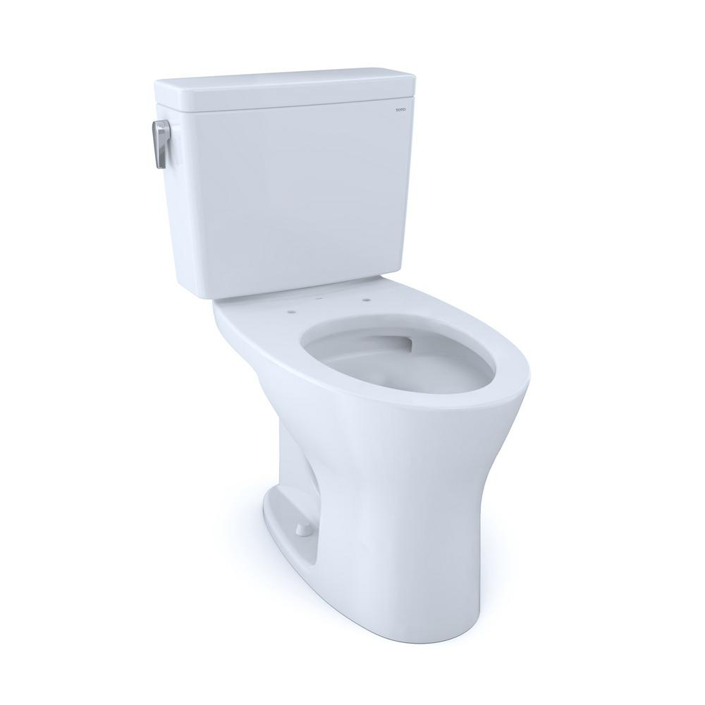 TOTO Drake 2-Piece 1.6 and 0.8 GPF Dual Flush Elongated Toilet in Cotton White for 10 in. Rough-In