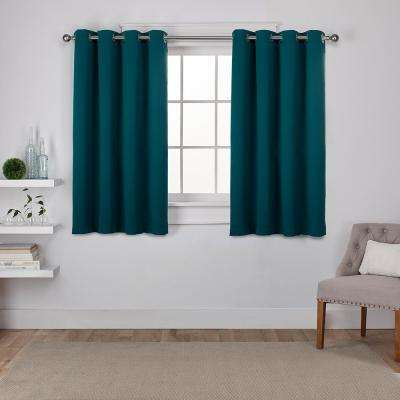 Sateen 52 in. W x 63 in. L Woven Blackout Grommet Top Curtain Panel in Sapphire Teal (2 Panels)