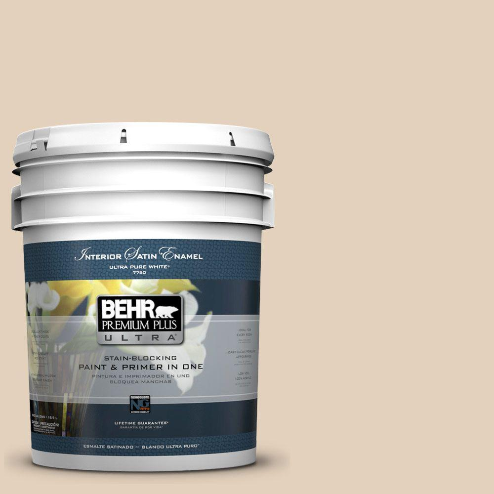 BEHR Premium Plus Ultra 5-gal. #ICC-21 Baked Scone Satin Enamel Interior Paint