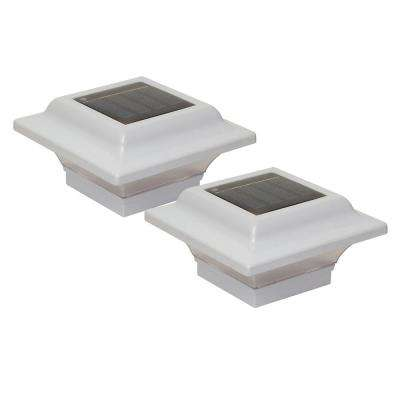 Imperial 2.5 in. x 2.5 in. Outdoor White Cast Aluminum LED Solar Post Cap (2-Pack)
