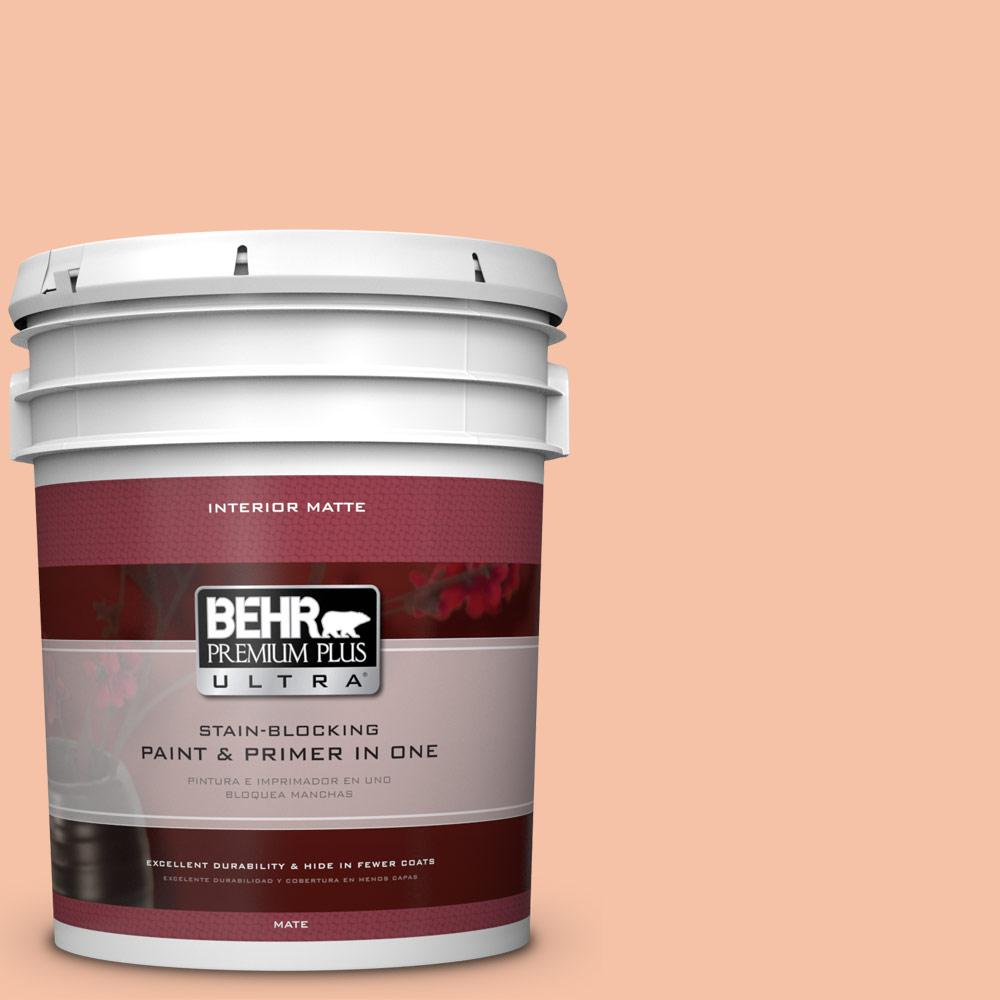 BEHR Premium Plus Ultra 5 gal. #240C-3 Peach Damask Flat/Matte Interior Paint